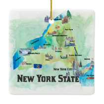 USA New York State Travel Poster Map Ceramic Ornament