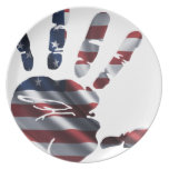 USA NICE HAND FLAG PRODUCTS PARTY PLATES