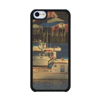 USA, North America, Maine, Bernard, Fishing Carved® Maple iPhone 5C Slim Case