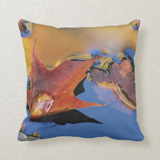 USA, Northeast, Maple Leaf in Reflection Throw Pillow