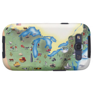 USA, Northern States of America, map with Samsung Galaxy SIII Covers