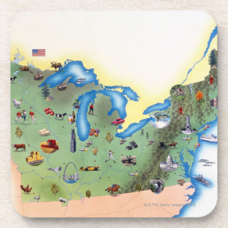 USA, Northern States of America, map with Coaster