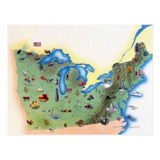USA, Northern States of America, map with Postcard
