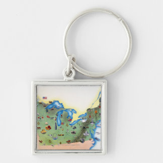 USA, Northern States of America, map with Silver-Colored Square Keychain