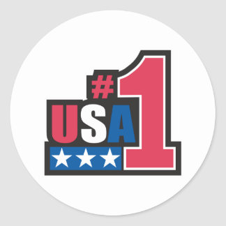 USA Number One Design Classic Round Sticker