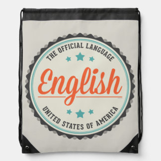 USA Official Language Drawstring Bag