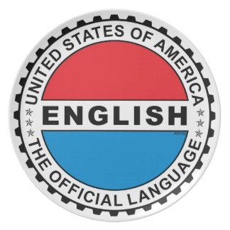 USA Official Language Melamine Plate