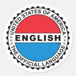 USA Official Language Round Sticker