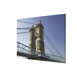 USA, Ohio, Cincinnati: Roebling Suspension 2 Canvas Print