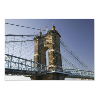 USA, Ohio, Cincinnati: Roebling Suspension 2 Photo Print