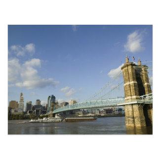 USA, Ohio, Cincinnati: Roebling Suspension 2 Postcard