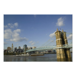 USA, Ohio, Cincinnati: Roebling Suspension 2 Poster