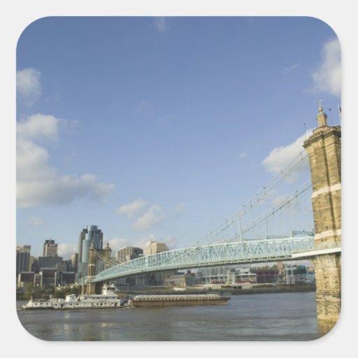 USA, Ohio, Cincinnati: Roebling Suspension 2 Square Sticker