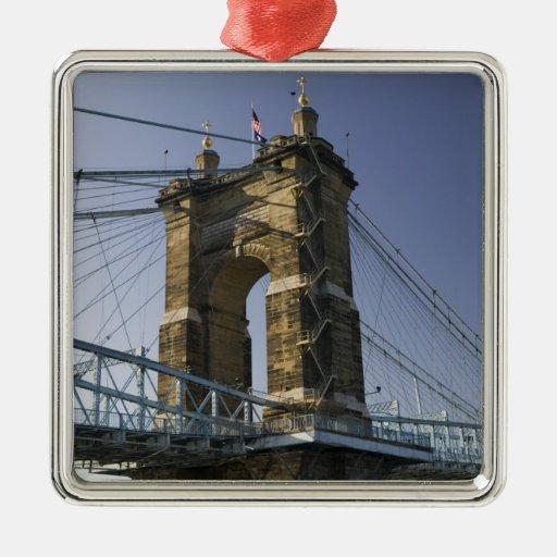 USA, Ohio, Cincinnati: Roebling Suspension 3 Square Metal Christmas Ornament