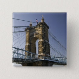 USA, Ohio, Cincinnati: Roebling Suspension 3 Pinback Button