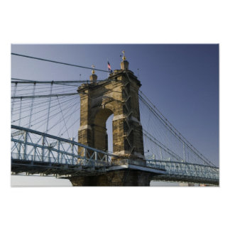 USA, Ohio, Cincinnati: Roebling Suspension 3 Poster