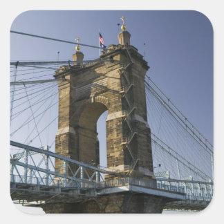 USA, Ohio, Cincinnati: Roebling Suspension 3 Square Stickers