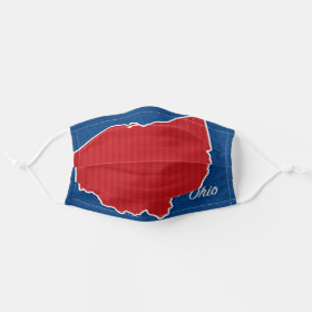 USA Ohio State Patriotic Stars and Stripes Map Cloth Face Mask