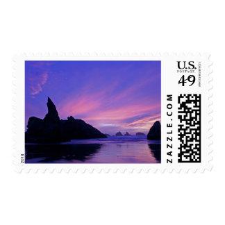 USA, Oregon, Bandon Beach. Silhouette of sea Postage Stamps