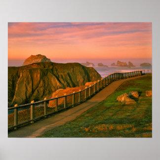 USA, Oregon, Bandon. Rocks Viewed From Trail Poster