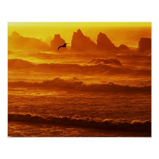 USA, Oregon, Bandon. Sunset over waves and sea Poster