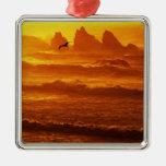 USA, Oregon, Bandon. Sunset over waves and sea Square Metal Christmas Ornament