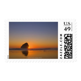 USA, Oregon, beach with stack rock Stamp