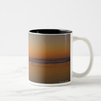 USA, Oregon, beach with stack rock Two-Tone Coffee Mug