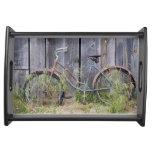 USA, Oregon, Bend. A dilapidated old bike Serving Platter