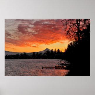 USA, Oregon. Blue Lake And Mt Hood At Sunrise Poster