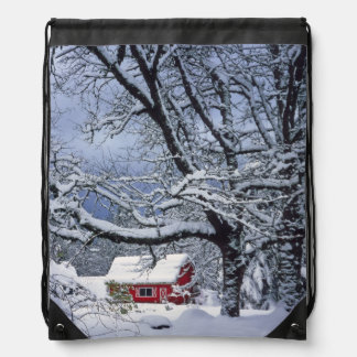 USA, Oregon, Clackamas County. Fresh snow covers Drawstring Bag