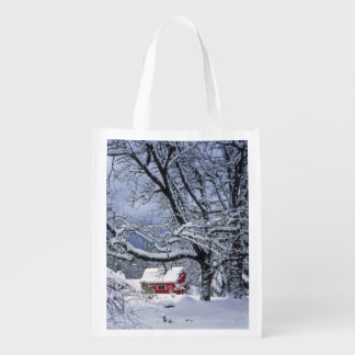 USA, Oregon, Clackamas County. Fresh snow covers Grocery Bag