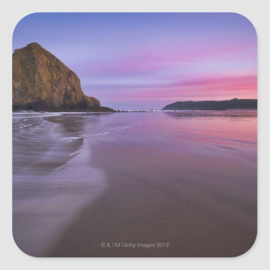 USA, Oregon, Clatsop County, Haystack Rock and Square Sticker