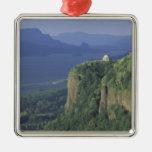 USA, Oregon, Columbia River Gorge NSA. View of Square Metal Christmas Ornament