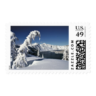 USA, Oregon, Crater Lake NP. Pristine snow Stamp