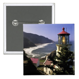 USA, Oregon, Florence. Heceta Head Lighthouse 2 Inch Square Button