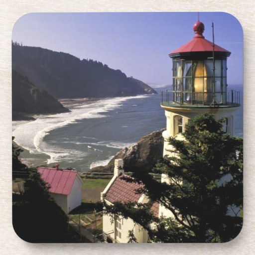 USA, Oregon, Florence. Heceta Head Lighthouse Drink Coasters