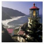 USA, Oregon, Florence. Heceta Head Lighthouse Large Square Tile