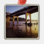 USA, Oregon, Florence. Siuslaw Bridge and Metal Ornament