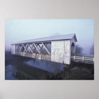 USA, Oregon. Gilkey covered bridge spans Poster