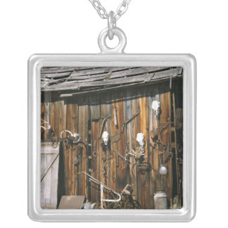 USA, Oregon, Harney County. Old livery stable Silver Plated Necklace