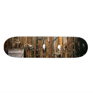 USA, Oregon, Harney County. Old livery stable Skateboard