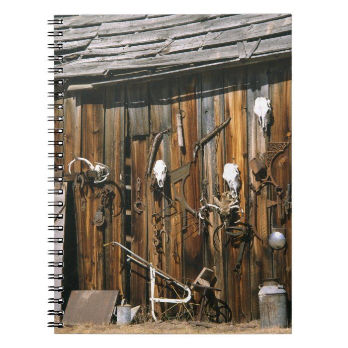 USA, Oregon, Harney County. Old livery stable Spiral Notebook