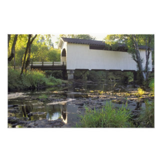 USA, Oregon. Harris covered bridge over Marys Photo Print