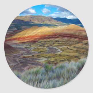 USA, Oregon. Landscape Of The Painted Hills Classic Round Sticker