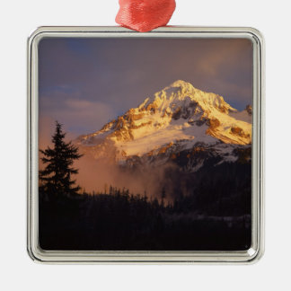 USA, Oregon, Mt. Hood National Forest. Rolling Square Metal Christmas Ornament