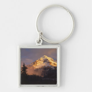 USA, Oregon, Mt. Hood National Forest. Rolling Silver-Colored Square Keychain