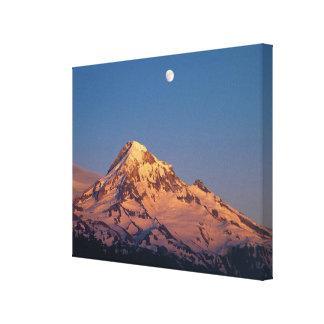 USA, Oregon, Mt Hood. Sunset creates alpenglow Canvas Print