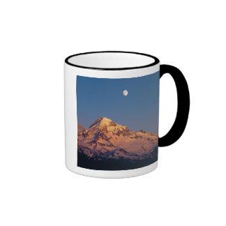 USA, Oregon, Mt Hood. Sunset creates alpenglow Ringer Coffee Mug