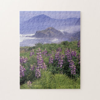 USA, Oregon, Nesika Beach. Lupine and Oregon Jigsaw Puzzle